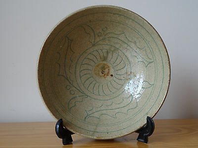 c.19th - Antique German Germany Stoneware Bowl in Chinese Style
