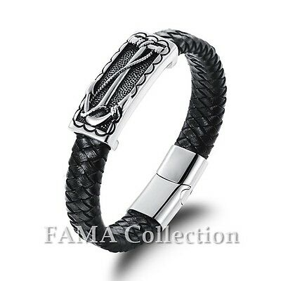 Trendy FAMA Black Leather Bracelet with Centre Braided Rope New
