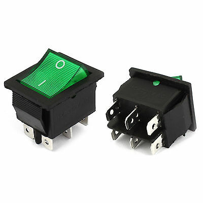 1pcs New AC250V 15A 6 Pin DPDT ON/OFF 2 Position Green Neon light Rocker Switch