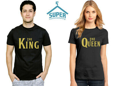 THE King THE Queen TSHIRT GOLD Logo BEATLES FONT Matching Love Couple Tee Shirt