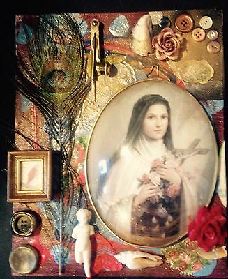 Mixed Media Collage Assemblage Art Vintage Canvas