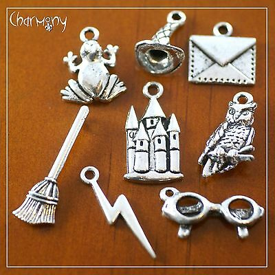Harry Potter inspired charms ~SET of 2 OR 8~ glasses owl frog wizard scar castle
