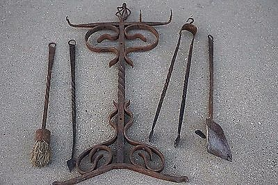 Tudor Arts & Crafts Antique wrought iron fireplace tools & stand