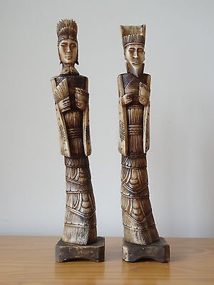 c.19th - Antique Chinese Hand Carved Emperor & Empress Figure Set Pair