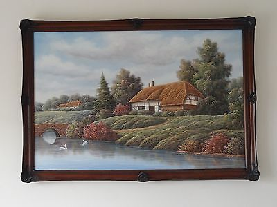 "c.20th - Large Vintage Oil on Canvas Painting ""Village landscape"" scene signed"