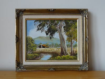 "c.20th - Small Vintage Oil on Canvas Painting  ""Landscape"" scene  - signed"