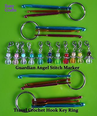 Mini Crochet Hook Set Keyring Hook Size 3mm 4mm 5mm 1 ANGEL CHARM WITH FULL SET