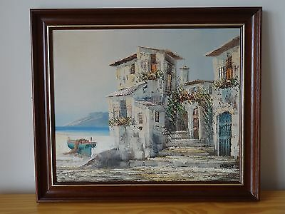 "c.20th - Vintage Oil on Canvas Painting  ""Sea side"" scene  - signed"