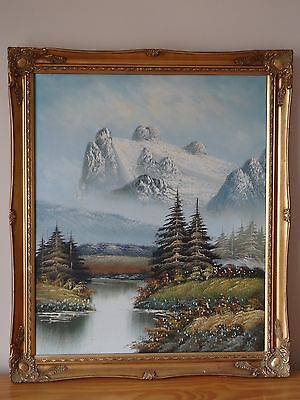 "c.20th - Vintage Oil on Canvas Painting  ""mountains"" scene"