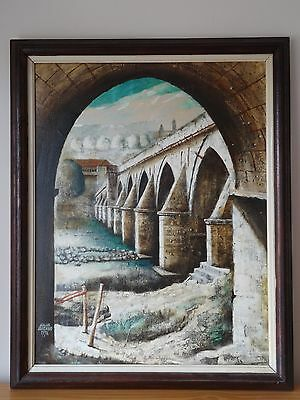 "c.20th - Vintage Russian Oil on Canvas Painting  ""Bridge"" scene - signed"