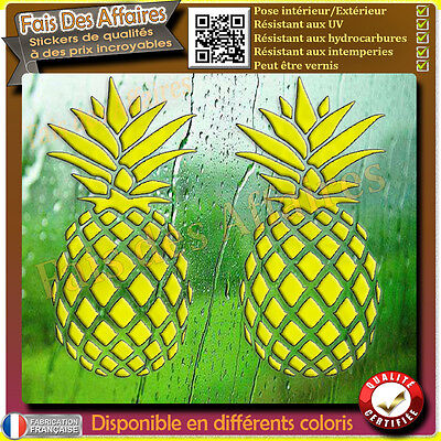 2 Stickers autocollant ananas decal pineapple  sticker deco interieur exterieure