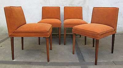 SET OF FOUR TOMMI PARZINGER RUST COLORED DINING / SIDE CHAIRS mid century modern