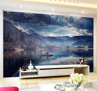 Lake Reflection Boat Full Wall Mural Photo Wallpaper Print Kids Home 3D Decal