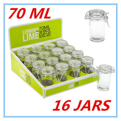 16 x 70ml Spice Mini Glass Jars with Clip Lid Bottle Jam Storage Container Jar D