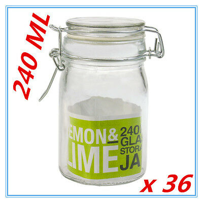 36 Spice Mini Glass Jars 240ML with Clip Lid Bottle Jam Storage Container Jar FD