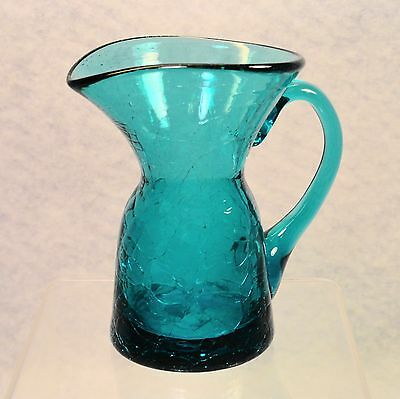 OOAK artist crafted hand blown Cobalt Blue Crackle Glass miniature Cruet Pitcher