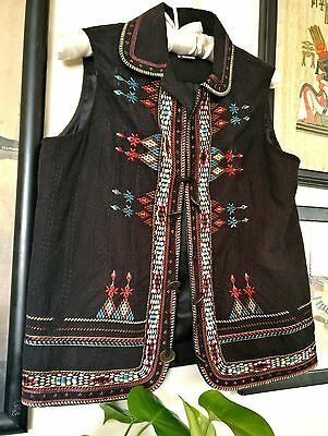 Graff Vintage Ethnic Asian Black Vest with Colored Tribal Stitching (Size M/L)