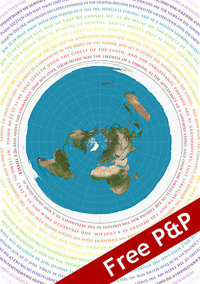 FLAT EARTH MAP WITH BIBLICAL SCRIPTURE A1 POSTER(Azimuthel Equidistant)(195gsm)