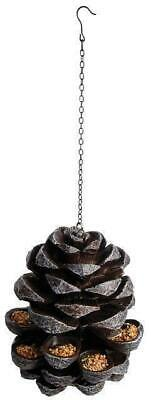 Hanging Pine Cone Pinecone Bird Feeder Cast Iron Effect Garden Ornament