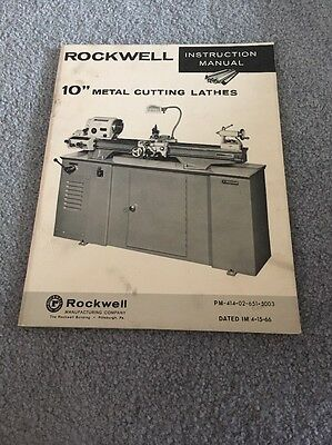Rockwell 10 inch Metal Lathe Instruction & Parts Manual