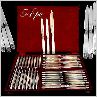 PIAULT Rare French Sterling Silver & Mother of Pearl Table Knife Set 54 pc w/box