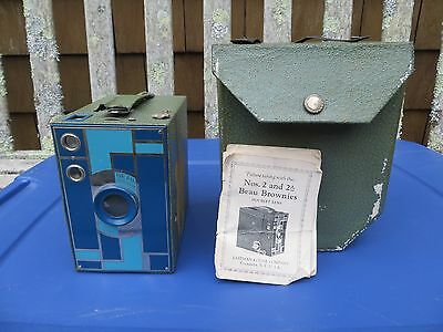 Kodak Beau Brownie No. 2A Box Camera, Walter Dorwin Teague, Blue Model w/Case
