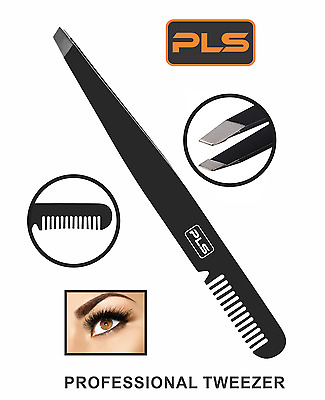 PINCE A EPILER Black Eyebrow Tweezer With Comb Slanted Stainless Steel Tweezer