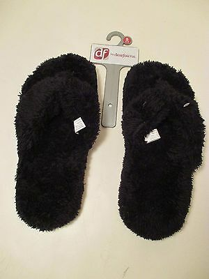 BRAND NEW DEARFOAMS Black Thong Slip On Slippers~Size S Small 5-6