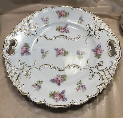 Antique German Decorative Cake Serving Plate Platter Gold Gilt Pink Roses Floral