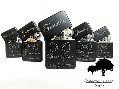 Personalised bow tie Wedding Favours gift lighter in Tin. Free engraving LTR7