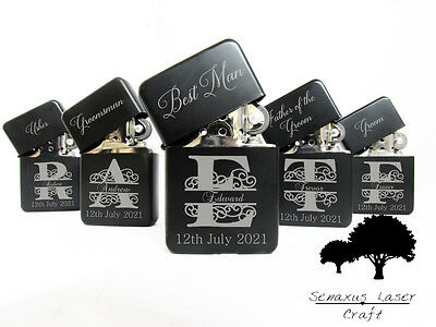 Personalised Monogram Wedding Favours gift lighter in Tin. Free engraving LTR10
