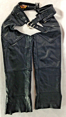 Harley Davidson Black Genuine Leather Chaps Mens Small USA