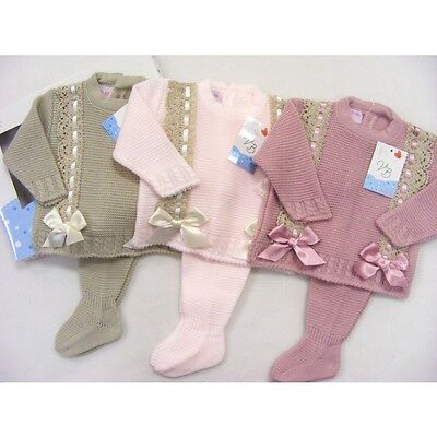 Baby Girls Spanish 2 Piece Boxed Set -  Pink / Cream Double Bow