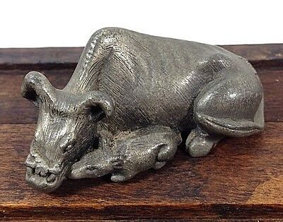 1970's Vintage Pewter IS© OX Cattle And Baby Chinese Calendar Figurine