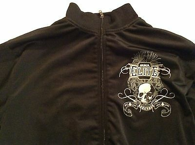 MMA Elite Jacket Grim Reaper Skull Black Zipper, Size M. Pre-owned, see photos.