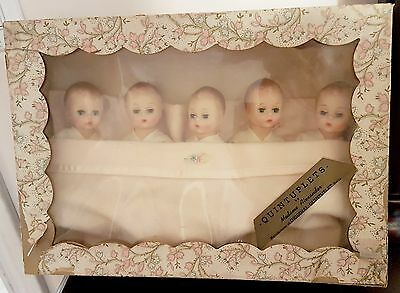 Vintage Madame Alexander Quintuplet Fisher Quints 5 dolls Original In Box 1960s
