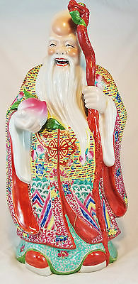 GIANT Republic Period CHINESE Antique FAMILLE ROSE Porcelain OLD WISE MAN FIGURE