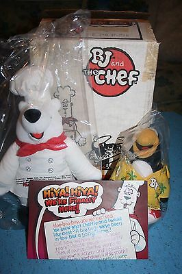Vintage ORIGINAL Kid Cuisine BJ & The Chef Plush Toys w/ Original Box NIB