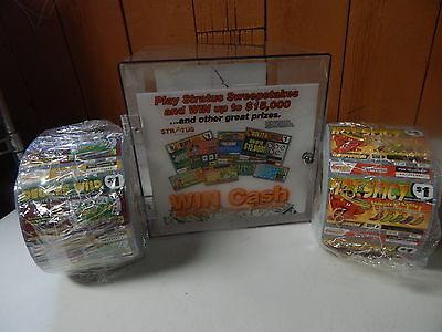 roll of scratch-off tickets and dispenser display case