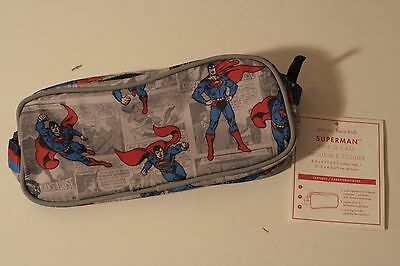 Pottery Barn Kids Boys~SUPERMAN PENCIL CASE~Comic Superhero~RED,BLUE&GRAY ~ NWT