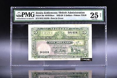 Very Rare 1925 Straits Settlements $5 Date In Green PMG 25 Net Very Fine