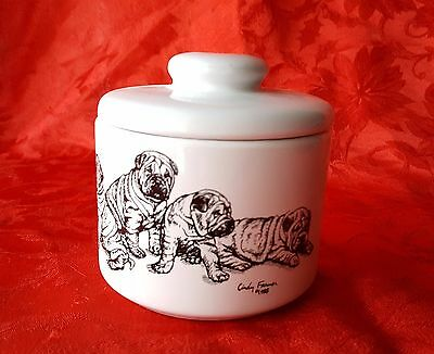 SHAR PEI Puppies Porcelain Treat Jar Bowl Gift Dog Lover by Cindy Farmer