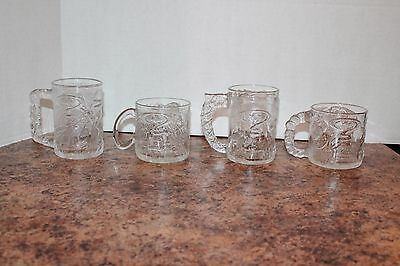 Batman Forever Glasses Mugs McDonalds 1995 Complete Set of 4