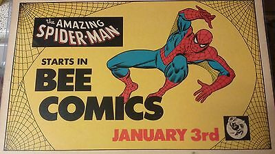 1978 Spiderman Toy Store Comic Sign Newsstand Cardboard poster original mego