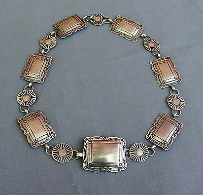 Old Vintage Stamped Silver Native American Concho Necklace from Belt