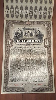 1912 New York State Railways Specimen Bond Stock Certificate Railroad