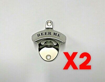 x2 Beer Me Wall Mounted Bottle Opener Bar Man Cave Fathers Day Present BBQ Area