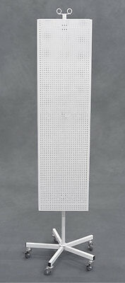 Metal Pegboard Floor Spinner Retail Store Display Rack Hooks Magnets White NEW