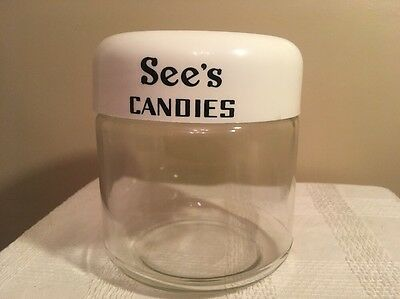VINTAGE 1960's SEE'S CANDIES GLASS CANDY JAR WITH LID