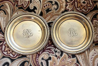 Antique Vintage 925 Sterling Silver Saucer SET OF TWO PLATES total 55,6 gr.